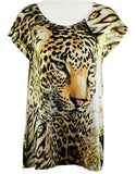 Big Bang Clothing Company- Leopard, Cap Sleeve, Scoop Neck Rhinestone Print