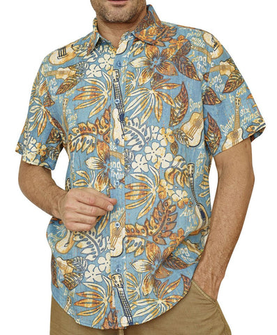 Margaritaville - Six String, Short Sleeve Vintage Guitar Print Tropical Shirt