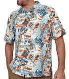 Margaritaville Havana Cigar Inspired Short Sleeve, Tropical Men's Silk Shirt