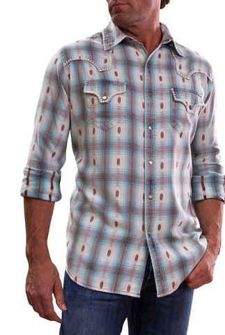 Ryan Michael - Ombre Plaid, Blanket Stitch Long Sleeve Western Style Men's Shirt