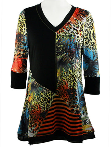 Lior Paris - Safari Patterns, 3/4 Trimmed Sleeves, Animal Print Tunic Top