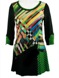 Lior Paris - Checkered Green, 3/4 Sleeve, Scoop Neck, Geometric Print Tunic Top
