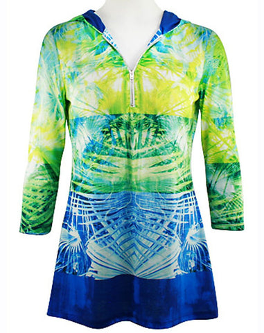 Boho Chic - Criss Cross Colors, Partial Zip Front, Long Sleeve Fashion Hoodie Top