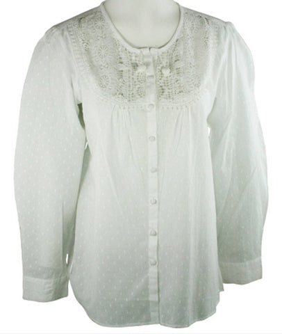 Ravel Fashion Flutter Sleeve Scoop Neck Patterned Cut-Outs White Peasant Blouse