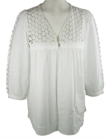 Ravel Fashion Cut-Out Patterned Trimmed Front & Sleeves White Peasant Blouse