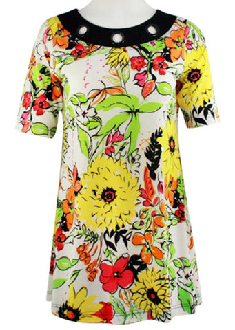 Isabel Clothing - Multi Floral, Short Sleeve Fashion Tunic on a Geometric Print