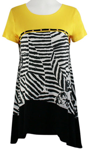 Isabel Clothing - Zebra Views Short Sleeve Asymmetric Hem Geometric Print Tunic