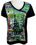 Crystal Fashions - Every Day Words Cap Sleeve V-Neck Geometric Print Fashion Top