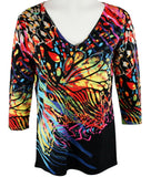 Clotheshead - Wild Thing, 3/4 Sleeve, V-Neck, Colorful Print Women's Fashion Knit Top