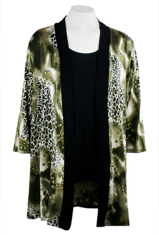Caribe - Olive Animal Print, Black Trimmed, Long Sleeve Jacket - Duster
