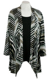 Caribe - Mocha, Grey, White Stripe, Trimmed, Long Sleeve Jacket - Duster
