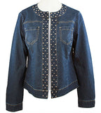 Baccini Collarless, Button-less, Dual Pocket Lightweight Denim Jacket Metal Studs
