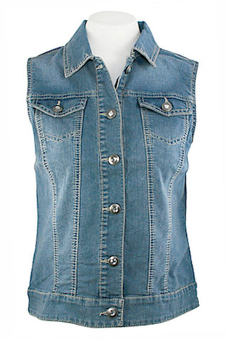 Baccini Medium Wash Denim Vest Dual Pocket Button Front Rhinestone Accent Button
