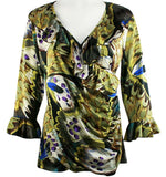 Mesmerize - Butterfly Ruffles, Long Flared Sleeves, Side Seam, V-Neck Top