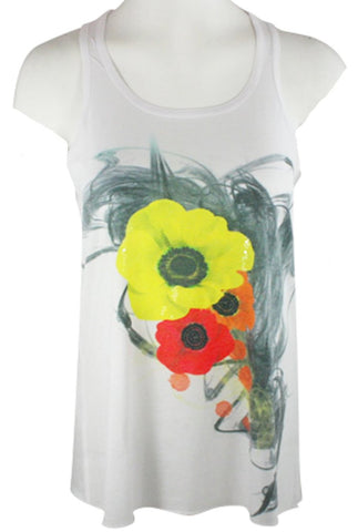 Chi Shee - Yellow Poppy, Sequin Accents Scoop Neck Sleeveless Print Tank Top