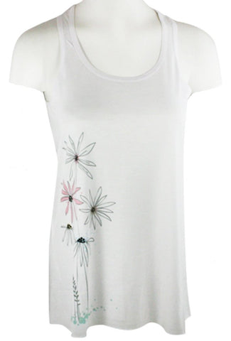 Chi Shee - Tall Flowers, Rhinestone Accents Scoop Neck Sleeveless Print Tank Top