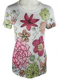 Chi Shee - Colored Flowers, Sequin Highlights Round Neck Short Sleeve Print Top