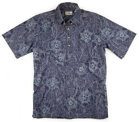 Reyn Spooner - Blueprint Floral, Classic Tropical Print Short Sleeve Men's Shirt