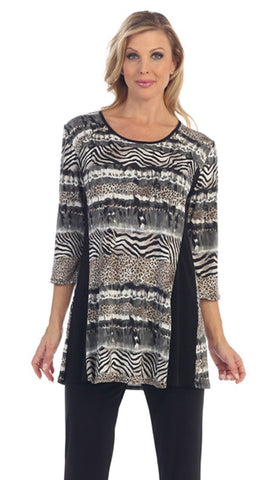 Caribe - Animal Print, Black Side Trim, 3/4 Sleeve, Scoop Neck Long Tunic