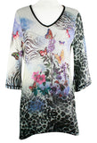 Cactus Fashion - Butterfly Branch, 3/4 Sleeve V-Neck, Rhinestone Print Tunic