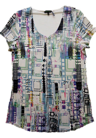 Tricotto - Mod Scene, Short Sleeve Top, V-Neck with Rhinestone Zipper Accent