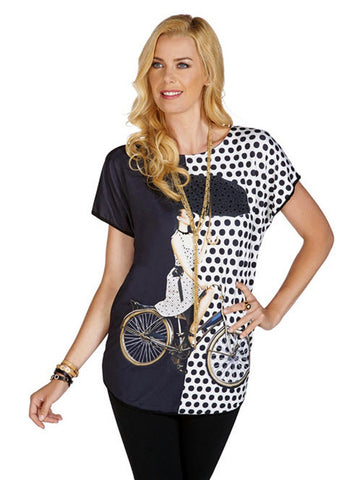 Tricotto - Bicycle Women, Short Sleeve Top with Polka Dots & Rhinestone Accents