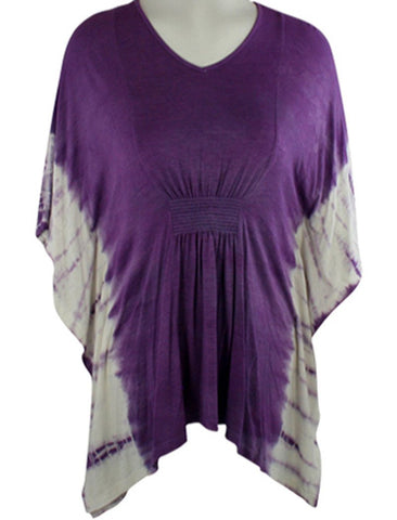 Gypsy Daisy - Purple Flutter, V-Neck Poncho Top with Tie Dye Geometric Designs