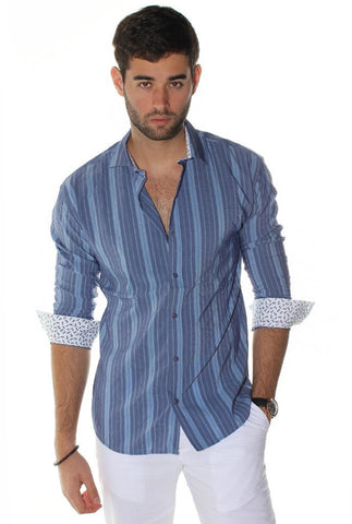 Envy Evolution Denim Stripes Button Front Colored Cuff Lightweight Men's Shirt