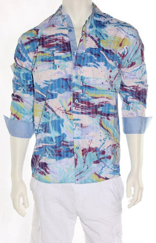 Envy Evolution - Blue Haze, Button Front Colored Cuff Lightweight Men's Shirt