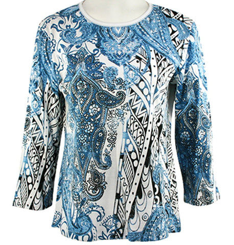 Jess & Jane - Denim Patch, 3/4 Sleeve Scoop Neck Rhinestone Cotton Print Top