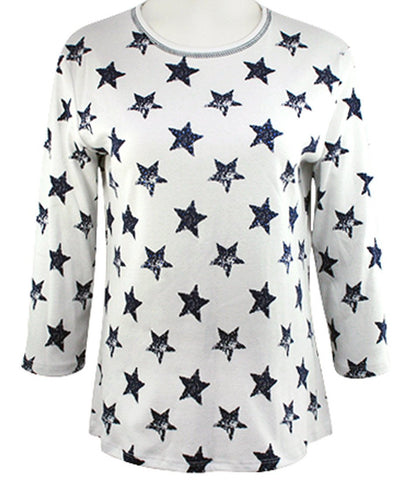 Jess & Jane - American Stars, 3/4 Sleeve Scoop Neck Rhinestone Cotton Print Top
