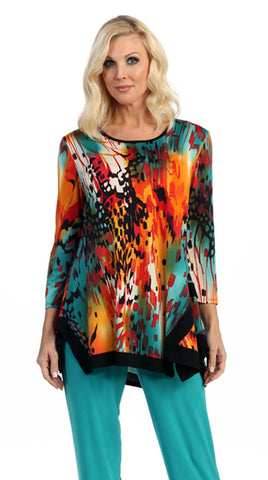 Caribe - Animal Rainbow, Black Trim Bottom 3/4 Sleeve Scoop Neck Swing Tunic