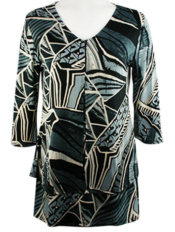Caribe - Pattern Blocks Print, Double Layered, 3/4 Sleeve, V-Neck Patterned Tunic