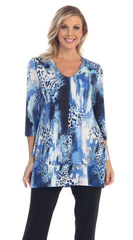 Caribe - Spotted Animal Print, Double Layered, 3/4 Sleeve, V-Neck Patterned Tunic