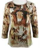 Cactus Fashion - Horse Head, 3/4 Sleeve, Rhinestone Western Style Cotton Top