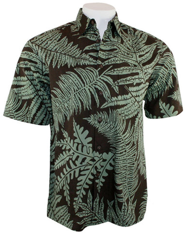 Kahala Sportswear - Ferns Hana, Broadcloth Cotton Short Sleeve Hawaiian Shirt