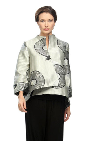 IC Collection - Spirals, 3/4 Trimmed Sleeve Metallic Accented Asian Styled Jacket