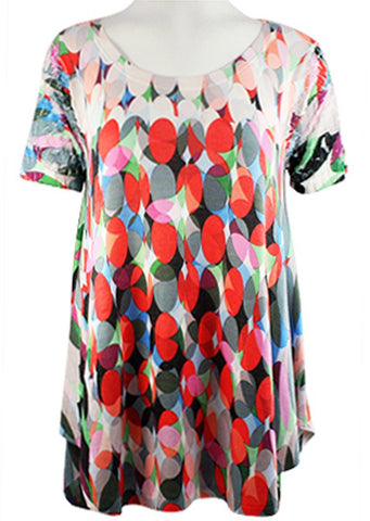 Cubism - Colored Drops, Scoop Neck, Crinkled Short Sleeve, Hi-Lo Hem Tunic