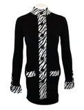 Belldini Ribbed Cardigan Duster with Satin Zebra Print on Button Front, Pocket and Sleeves(Small)
