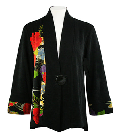 Moonlight - Three Flowers, Asian Floral Print, V-Neck, Long Sleeve Jacket