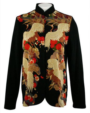 Moonlight - Asian Crane, Oriental Print, Mandarin Collar, Long Sleeve Jacket