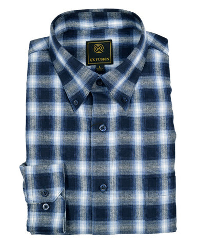 FX Fusion Navy Multi Flannel Long Sleeve Men's Shirt with Button Down Collar
