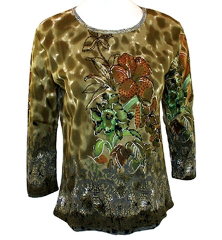 Ash & Sara, Geometric Floral, Scoop Neck, 3/4 Sleeve Body