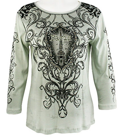 Cactus Fashion - Paris & Ornament, 3/4 Sleeve, Cotton Print Rhinestone Top