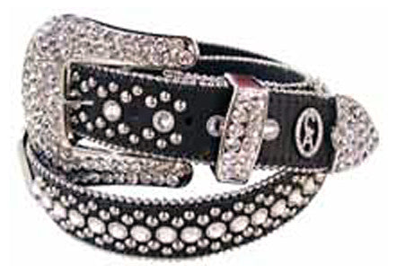 Christine Alexander Swarovski Crystals & Rivets Studded Large Buckle Belt