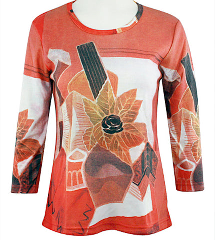 Breeke - Flower in Vase, Scoop Neck, Hand Silk Screened 3/4 Sleeve Art Top