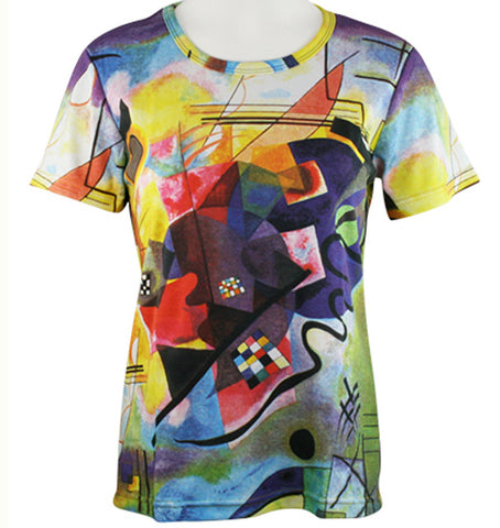 Breeke & Company - Kandinsky Wassily, Short Sleeve, Scoop Neck, Hand Silk Screened Artistic Top