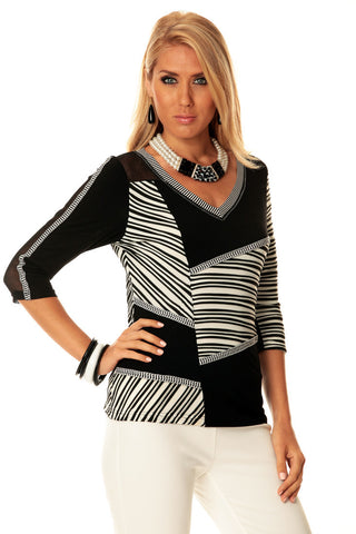 Lior Paris -Varied Lot, B & W Patchwork Patterned Trimmed V-Neck Tunic Top