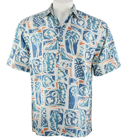 Bamboo Cay - Cruise Camp, Tropical Style Resort Wear Button Front Men's Shirt