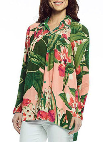 Margaritaville Manoa Floral, Elastic Cuff Sleeve V-Neck Button Front Blouse